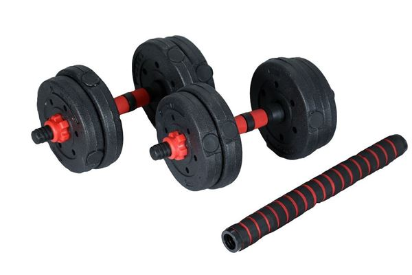 Picture of Adjustable Plastic Dumbbell 10KG with 2 Bars & long Bar