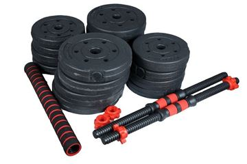 Picture of Adjustable Plastic Dumbbell 30kg with 2 Bars & long Bar