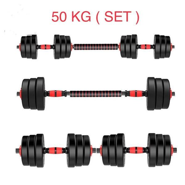 Picture of Adjustable Plastic Dumbbell 50kg with 2 Bars & long Bar